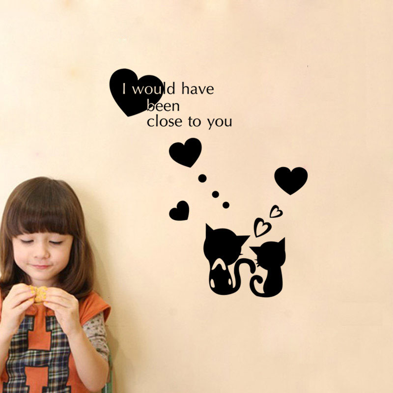Cat Wall Sticker For Bedroom Decal Decoration Home Children Wall Sticker Vinyl Cat Sticker Living Room Wallpaper