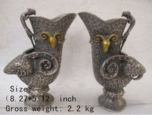 A Pair of Elaborate Chinese folk collection of copper sculptures sheep dragon vases