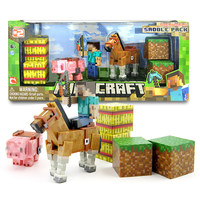 New Minecraft Game Action Figure Toys Juguetes Sword Espada Pink Pig And Horse Minecraft Model Figure