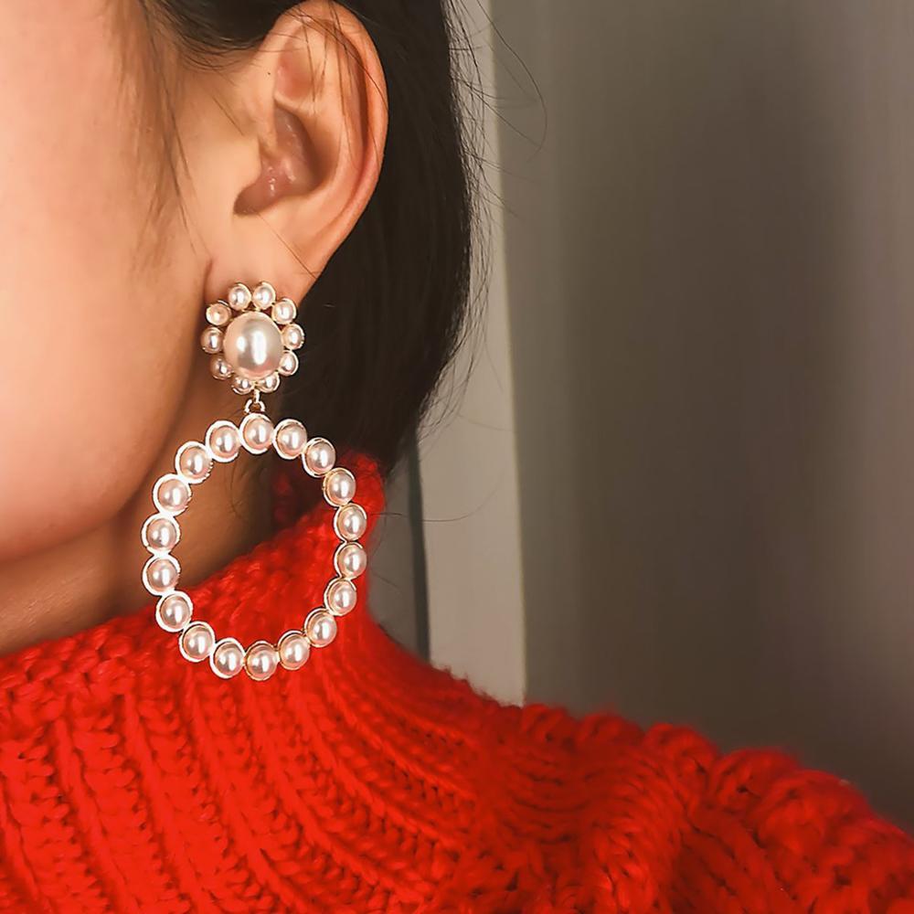 купить!  2019 новый Золото Серебро Цвет Большой Круглый Имитация-жемчуг Серьги Мотаться Для Женщин Мода  Лучший