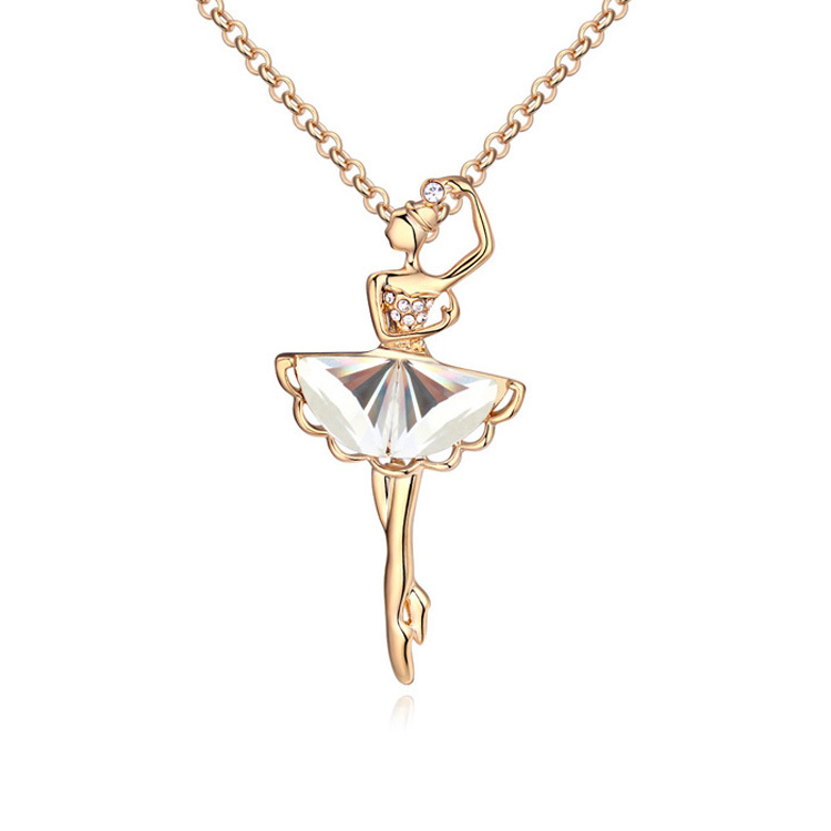 Fashion glass ballerina figure pendants necklace gold color long fashion glass ballerina figure pendants necklace gold color long chain sweater collares women children costume jewelry in pendant necklaces from jewelry mozeypictures Images