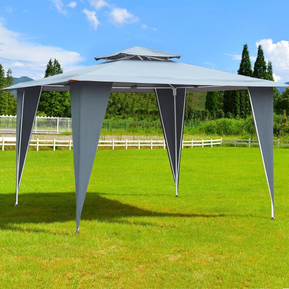 Giantex 2 Tier 11.5'x11.5' Gazebo Canopy Shelter Awning Tent Steel Frame Patio Garden  Outdoor Furniture OP3514