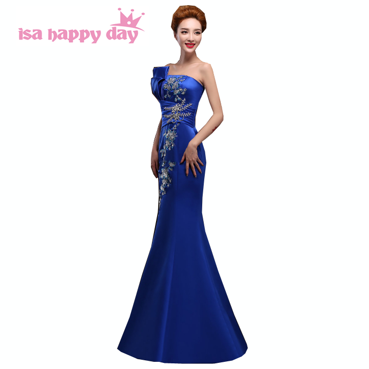 2019 Women Sexy Red Royal Blue Fitted Mermaid Evening Vintage Dresses Party Gowns Long Ladies Blue Sexy Pageant Dress W2118