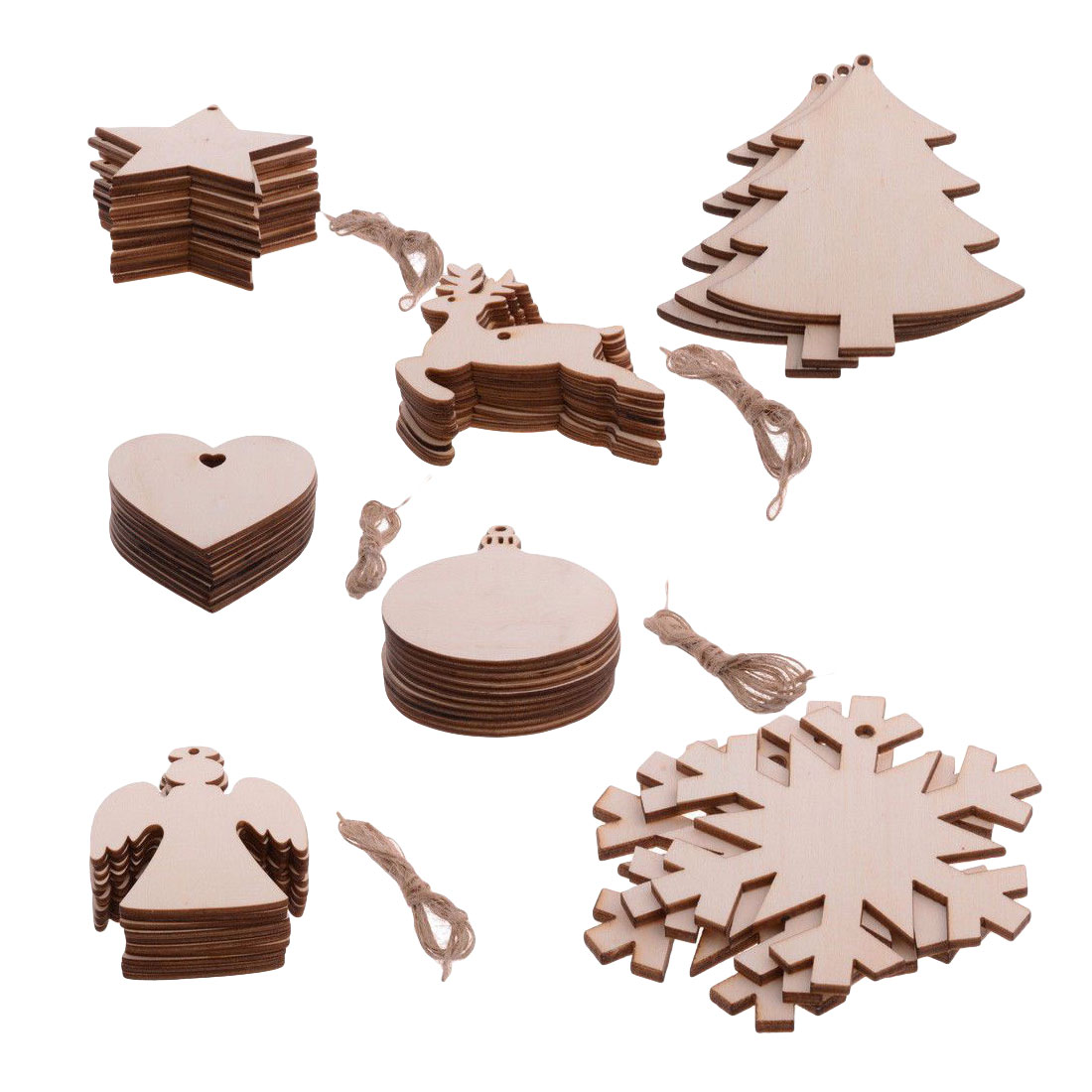 Multi DIY Christmas Snowflakes Deer&Tree Wooden Pendants Ornaments Christmas Party Decorations Xmas Tree Ornaments Kids Gifts