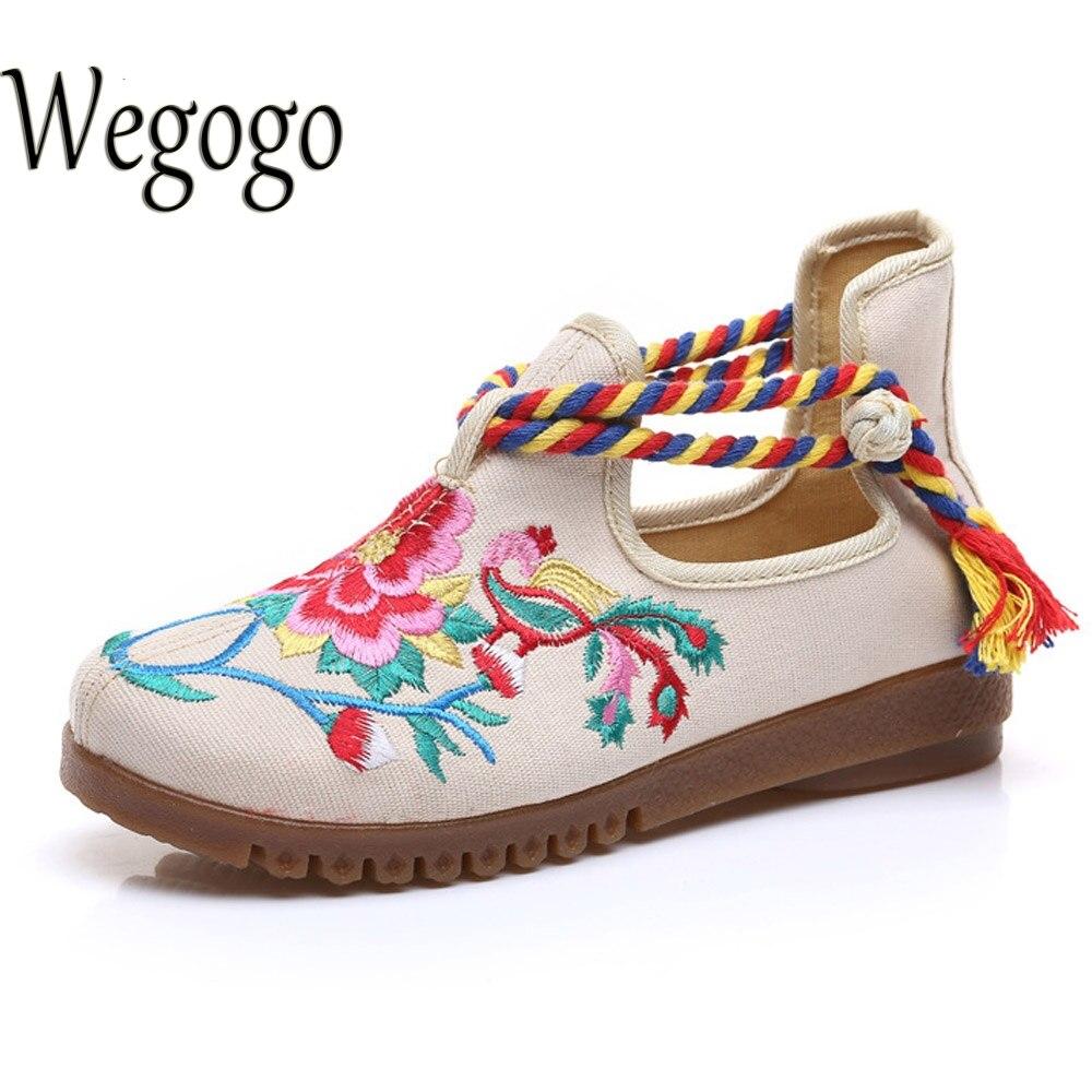 Wegogo Mujeres de Los Planos Zapatos de Lona Floral Bordado de Las Señoras Cómod