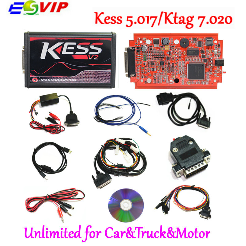 Последним KESS V2 V5.017 SW V2.47 Ktag К TAG V7.020 мастер KESS 5,017 красный PCB онлайн неограниченное маркеры Чип ECU Инструмент настройки
