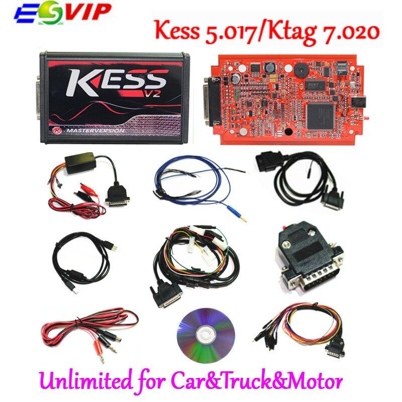 2018 Newest KESS V2 V5.017 SW V2.47 Ktag K TAG V7.020 Master KESS 5.017 Red PCB Online Unlimited Tokens ECU Chip Tuning Tool