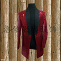mens stage performance red full sequined long tuxedo jacket stage wear/singing/bar/event/club/performance acket