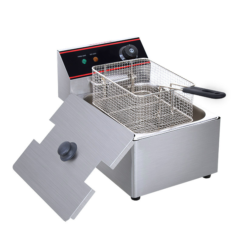 Electric Deep Fryers Commercial 6L/8L single cylinder sieve electric frying pan Fried chickeElectric Deep Fryers Commercial 6L/8L single cylinder sieve electric frying pan Fried chicke