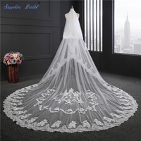 Sapphire Bridal Inspired New Top Quality 2 Layers Lace Edge Cathedral Wedding Veil White Ivory Long Veil For Brides