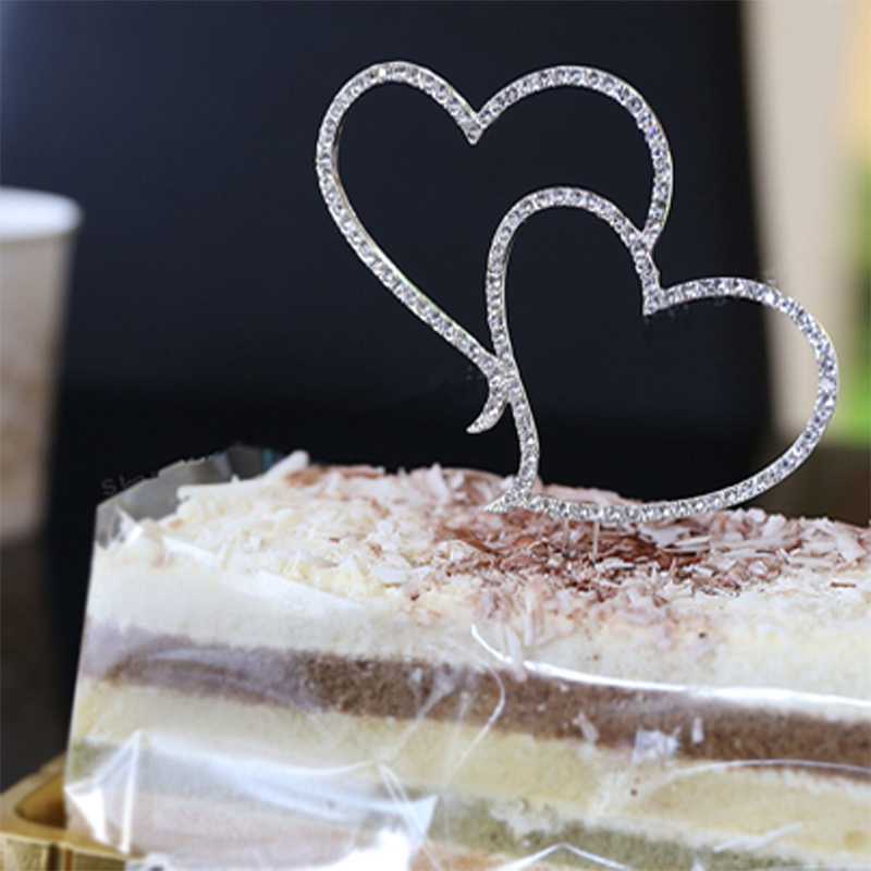 2017 new romantic crystal rhinestone silver double heart cake topper wedding decoration new year. Black Bedroom Furniture Sets. Home Design Ideas