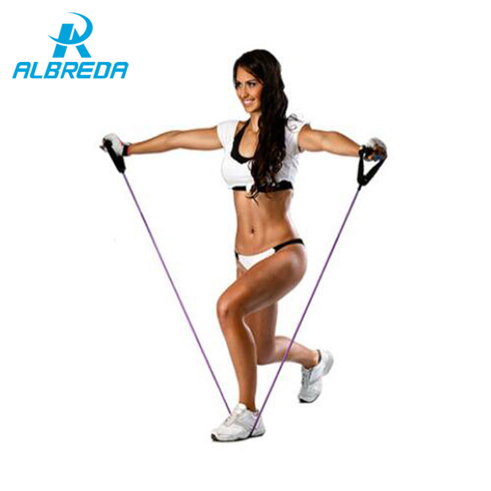 ALBREDA Tension Elastic pilate Exercise Sport Workout fitness Equipment Stretch expande Belt Pull Strap Resistance pull rope