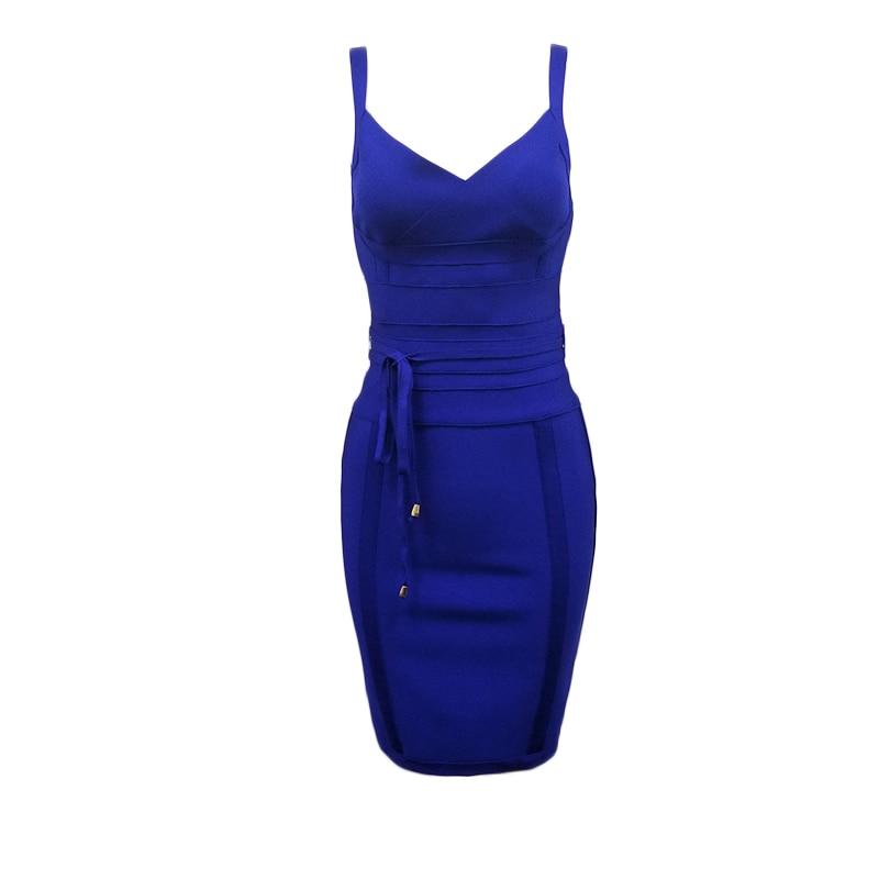 2020 Newest Fashion Bandage Dress Women Spaghetti Strap V-Neck Belt Sexy Night Club Evening Party Bodycon Dress Women Vestidos 5