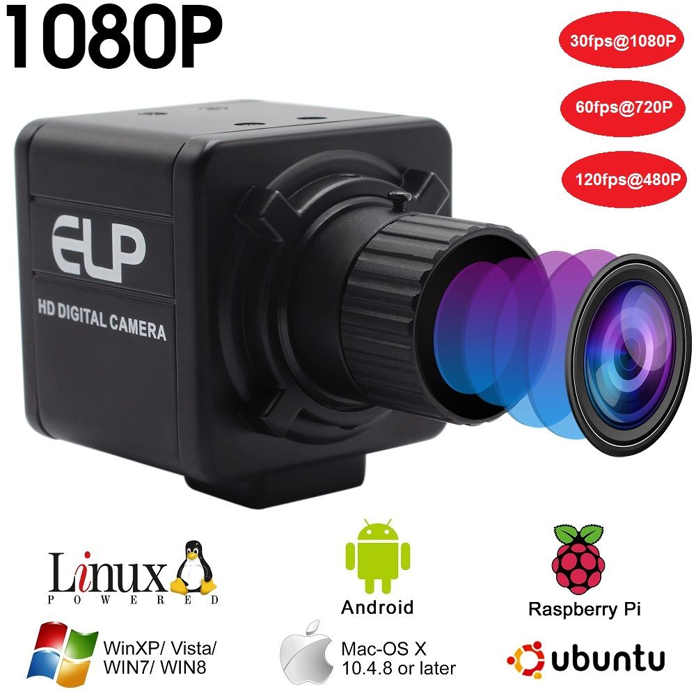 Industrial 1080P hd 30fps /60fps/120fps high speed Cmos ov 2710 4mm Manual focus lens mini USB webcam Camera for android tablet-in Surveillance Cameras from Security & Protection    1