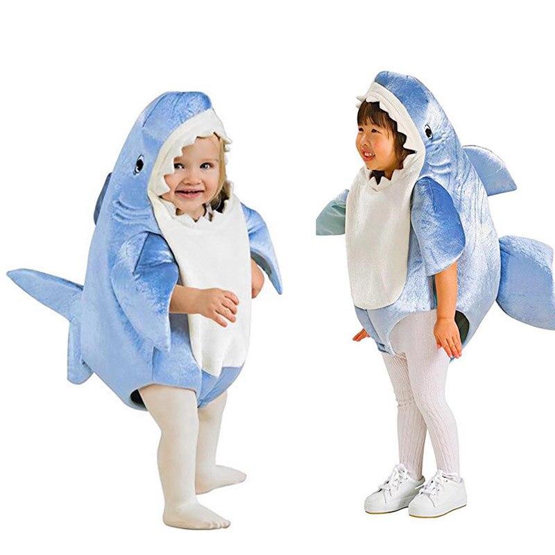 Kids Children Shark Costume Cute Mascot Blue Shark Funny Cosplay Fleece Fullbody Animal Party Halloween Costumes for Boys Girls