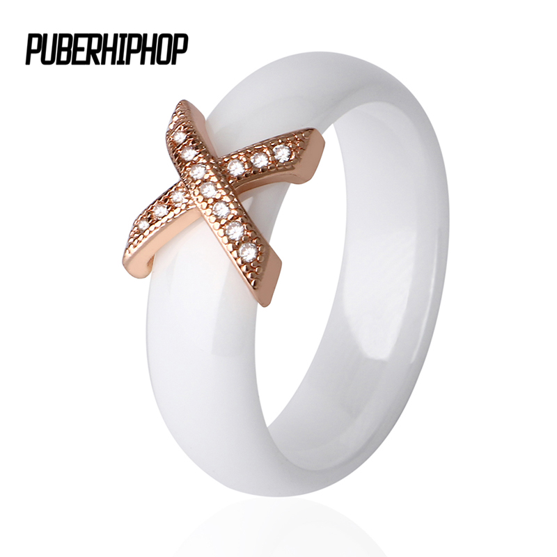 Best buy ) }}Rose Gold Color Ceramic Rings With Austrian Crystals Fashion anelli X Cross