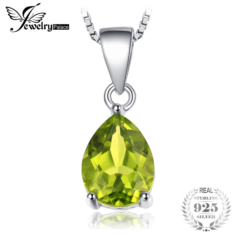 JewelryPalace Pear 1.5ct Natural Fine Green Peridot Birthstone Solitaire Pendant 925 Sterling Silver Does Not Include a Chain