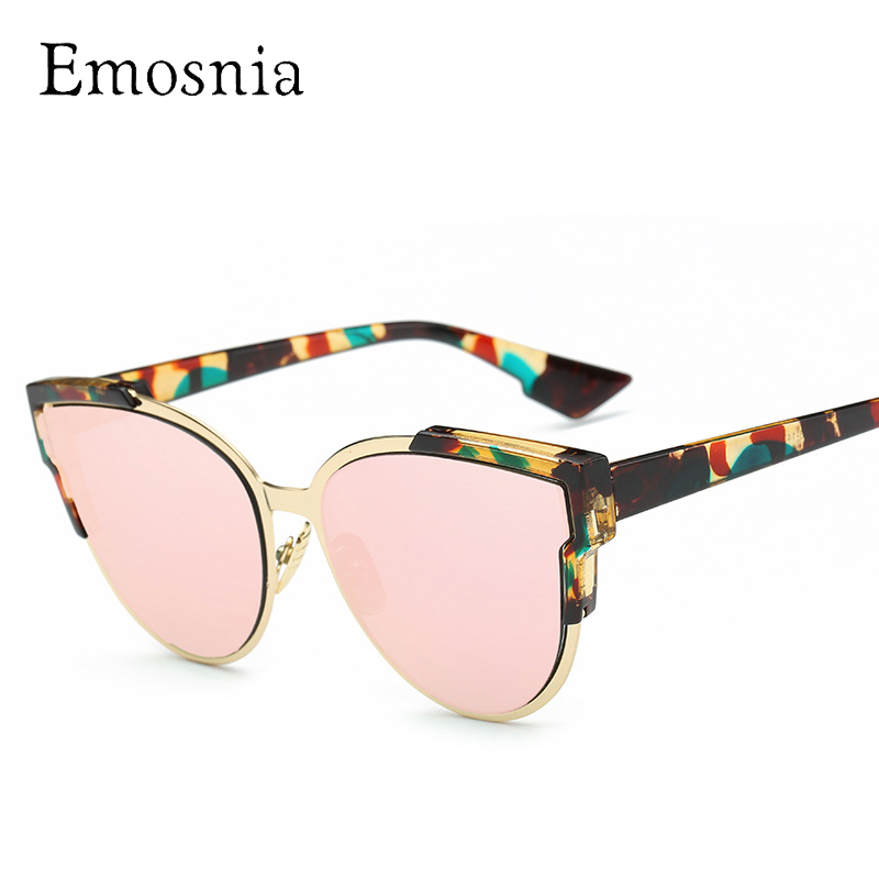 Emosnia New Cateye Mirror Sunglass Fashion Design Cat Eye Goggle Top Brand Sunglasses Women Vintage Floral Frame Eyewear Oculos