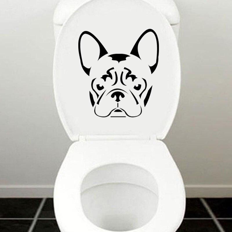 Французский бульдог frenchie Уход за кожей лица голова виниловая наклейка Туалет Наклейки украшения дома 4ws-0059