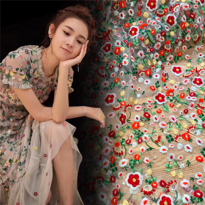 2019 Nieuwe stijl Verse kleurrijke borduurwerk kant stof Mooie jurk kledingstuk kid vrouw slijtage thuis DIY ontwerp mesh kant-in Kant van Huis & Tuin op  Groep 1