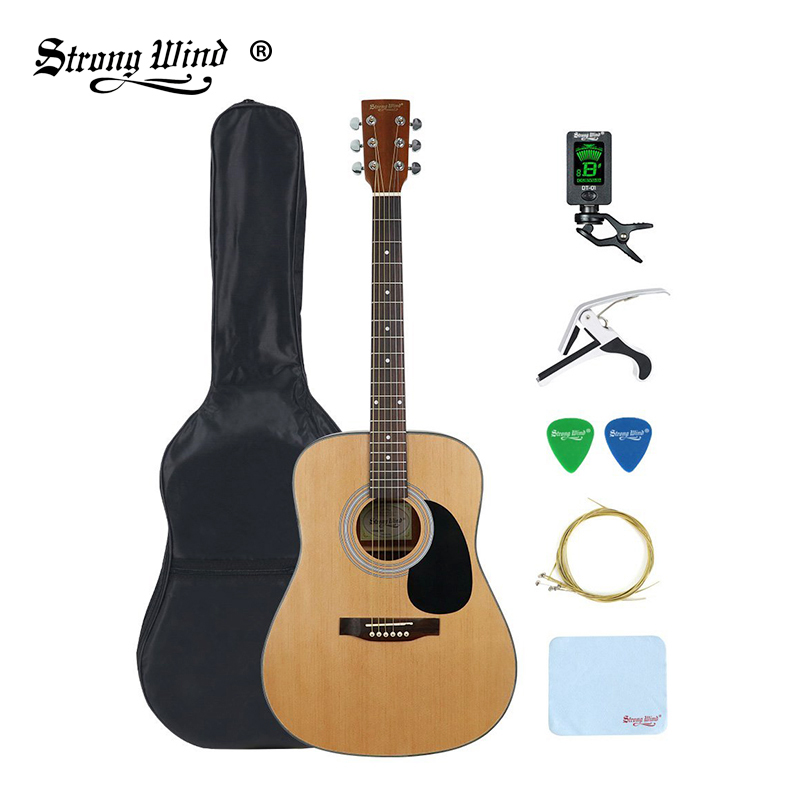 41 inch professional acoustic guitar folk full size 6 steel string gitar kids beginner unisex. Black Bedroom Furniture Sets. Home Design Ideas