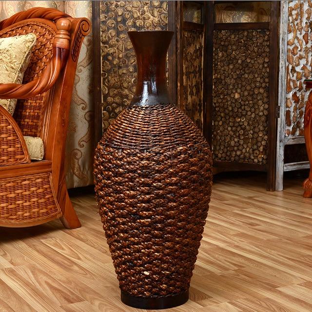 Bamboo Handmade Rustic Rattan Countertop Desktop Dried Flowers Vase