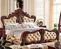 Европейский стиль двойной кровать кожаная кровать 1,8 1,5 м кровать