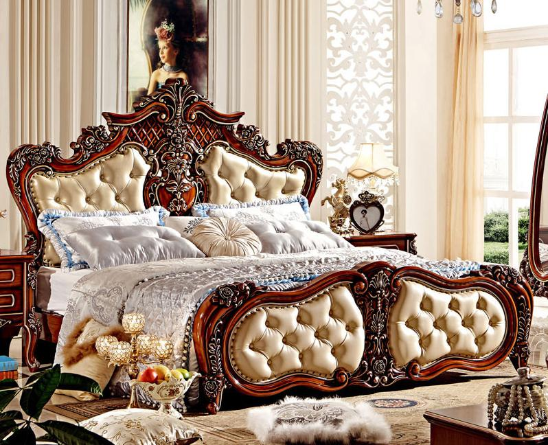 European Style Double Bed  Leather Bed 1.5 / 1.8 Meters Bed enhanced version of european style metal bed iron bed double bed pastoral style student bed 1 5 meters 1 8 meters