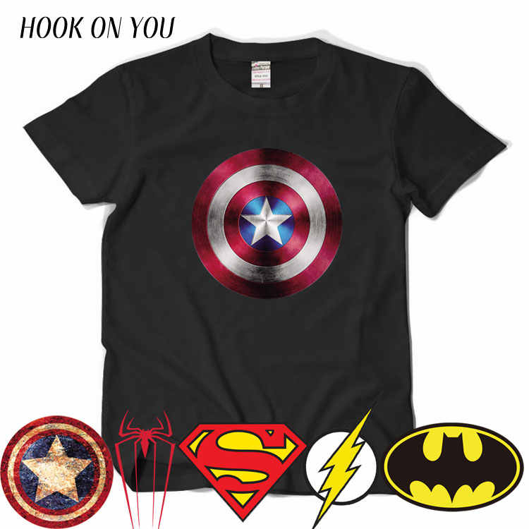 Comic LOGO Super hero T Shirt Superman Batman capitan America the Flash Marvel Movie Men Cosplay t-shirt super hero Geek Tee