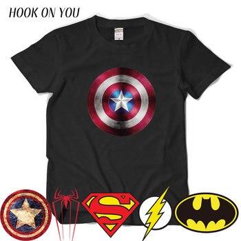 Comic LOGO Super Hero T Shirt Superman Batman Captain America the Flash Marvel Movie Men Cosplay T-Shirts superhero Geek Tee