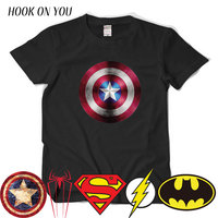 Comic LOGO Super Hero T Shirt Superman Batman Captain America The Flash Marvel Movie Men Cosplay