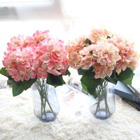 HAOCHU 2Pcs Lot 5 Heads Hydrangea Artificial Silk Flower Pink Blue Bride Bouquet Real Touch Plant