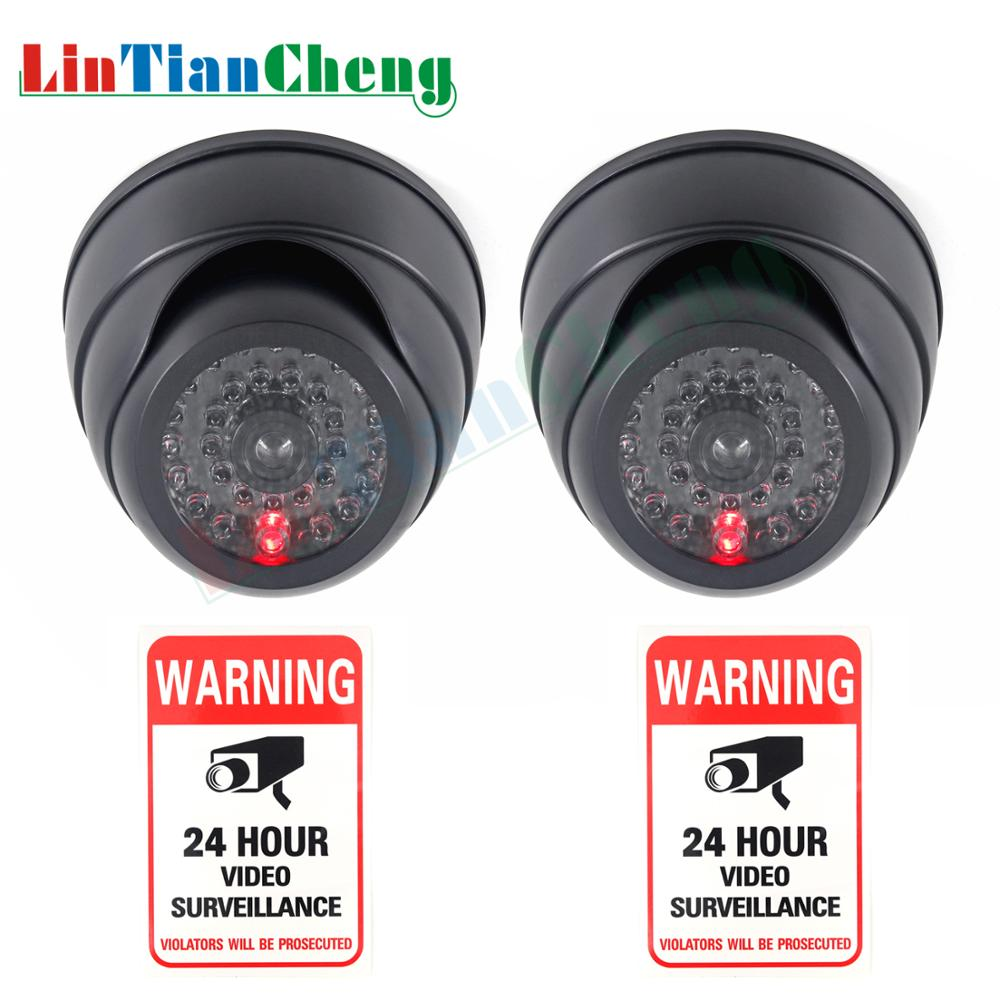 LINTIANCHENG 2pcs Indoor/outdoor Surveillance Camera With Flashing LED Lights  Fake Dummy Camera For Security Black Mini CCTV