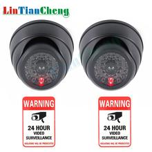 купить LINTIANCHENG 2pcs indoor/outdoor Surveillance Camera With Flashing LED Lights  Fake Dummy Camera For Security Black Mini CCTV по цене 556.22 рублей