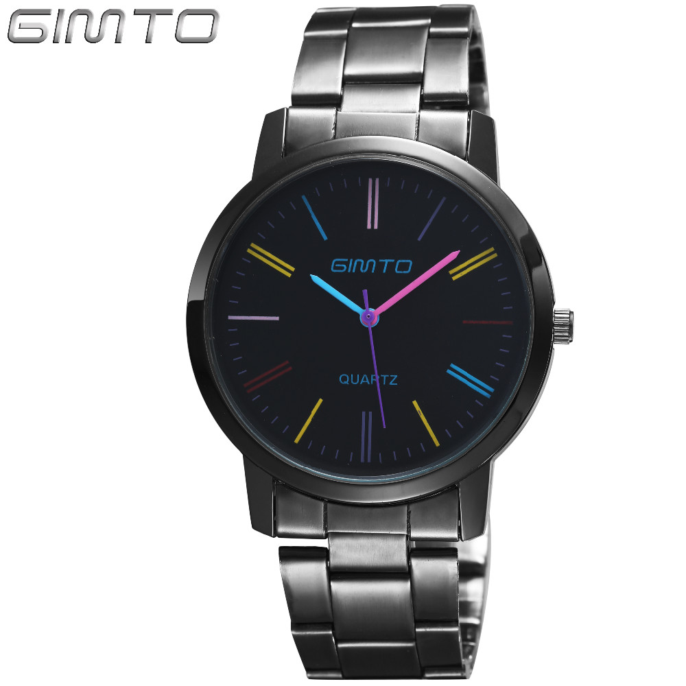 GIMTO Brand Luxury Men Women Watches Black Lovers Watch Stainless Steel Business Quartz Dress Wristwatch Relogio Montre Relojes onlyou luxury brand fashion watch women men business quartz watch stainless steel lovers wristwatches ladies dress watch 6903