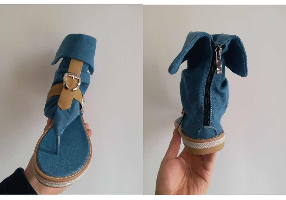 HTB1jPR4LMHqK1RjSZFPq6AwapXaF CDPUNDARI Ladies Denim Flat sandals for women Platform Sandals summer shoes woman Gladiator Sandals sandalias mujer 2019