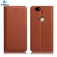 Original PHOPEER Luxury Genuine Leather Case For Huawei Google Nexus 6P Mobile Phone Stand Filp Cover