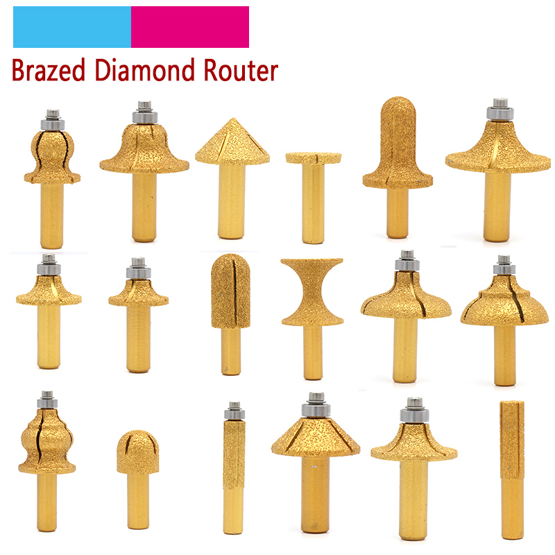 1pcs 1/2 Shank Vacuum Brazed Diamond Router Bits For Granite Marble Router Cutter Profiling Cutting Stone Edge Engraving Tools Abrasive Tools