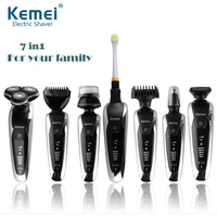Kemei KM 8867 Rechargeable 3D Electric Shaver 7 in 1 Men's Beard Trimmer Razor for Men Shaving Machine Face Care
