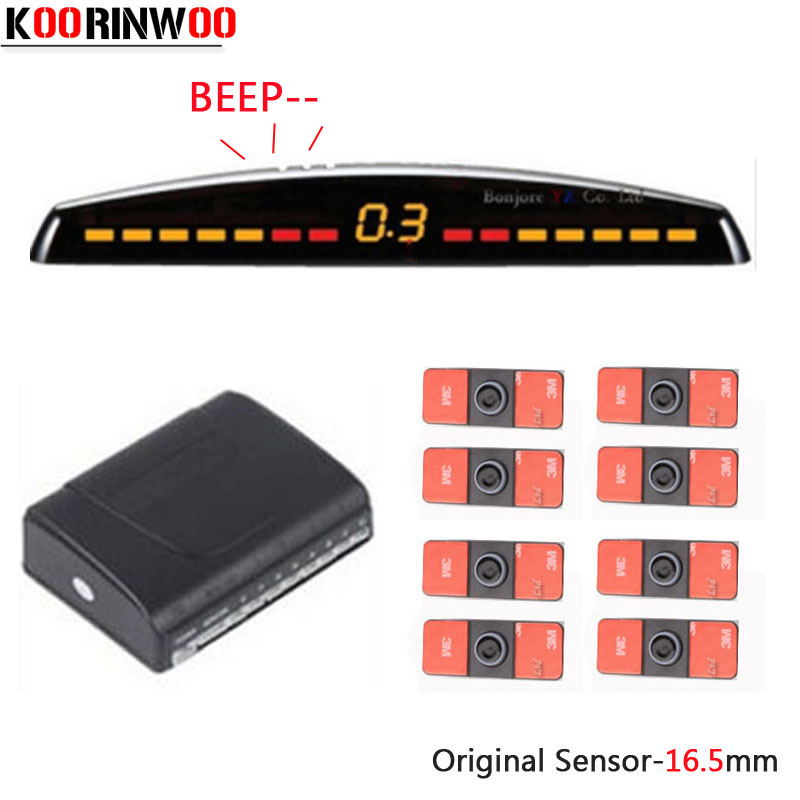 Koorinwoo Dual Core CPU Car Parking Sensors 8 Radars 4 Front 4 Back Rear Probes Parktronic