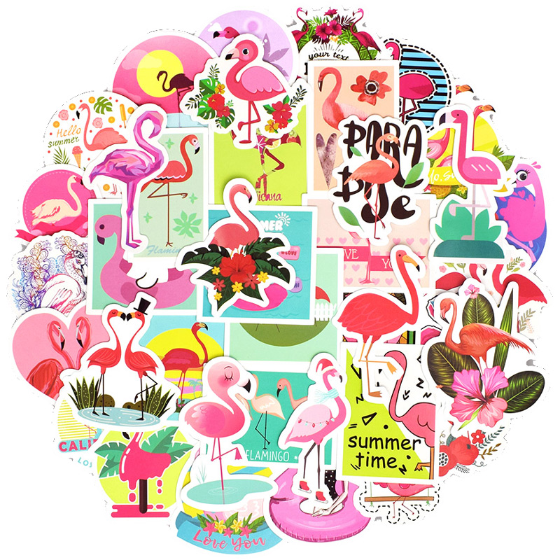 50Pcs Flamingos Stickers For Suitcase Skateboard Laptop <font><b>Cell</b></font> <font><b>Phone</b></font> Motorcycle Bicycle <font><b>Car</b></font> <font><b>Accessories</b></font> Mixed Pink Stickers