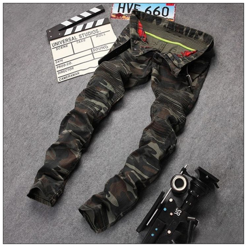 ФОТО 2016 New Camouflage Jeans Men Famous Designer Slim Biker Washed Jeans Full Size 29 to 38 Jeans Homme Skinny Jeans Men