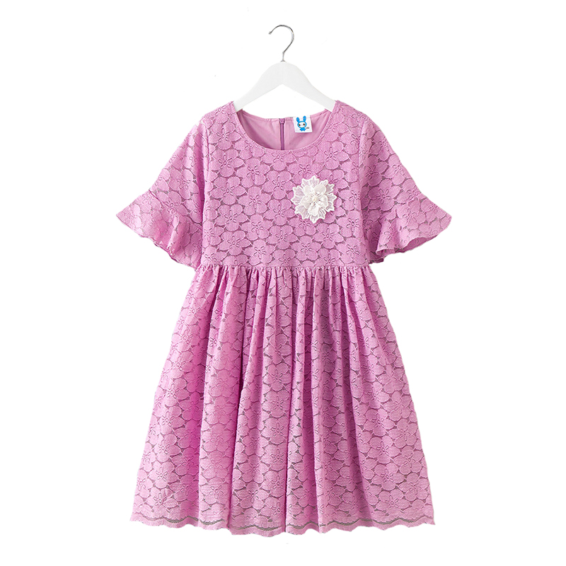 2018 Summer Baby Girls Dress Lace Costume for Girls Children Flare Sleeve Party Vestido Princess Dresses High Quality for 4Y-12Y high quality girls baby bright leaf long sleeve lace dress princess bud silk dresses children s clothing wholesale