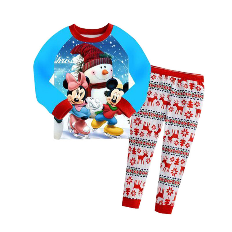 Children Pajamas Boy Girl Child Cartoon Full-Sleeve Set Snow Minnes Pijamas Kids Baby Suit Sleeping Wear