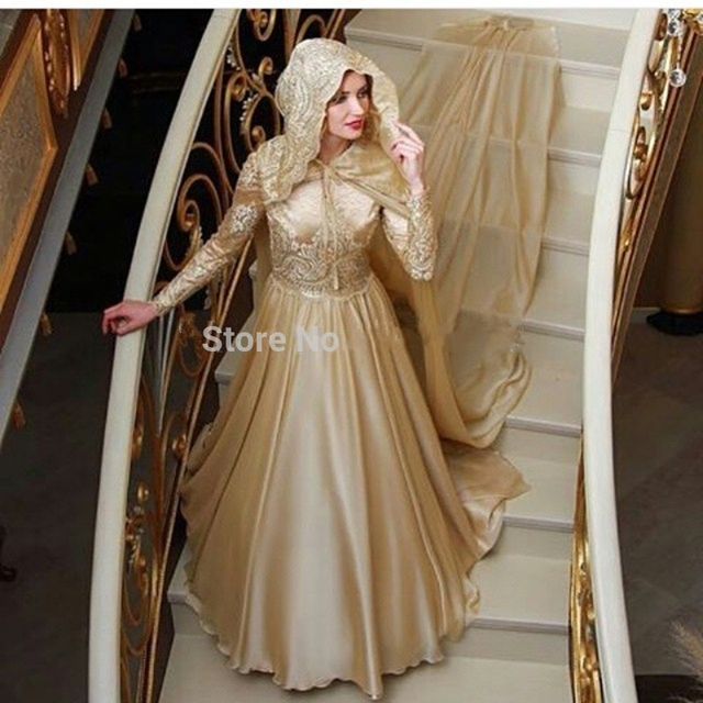 18e56d7bfa6a7 2016 New Design Champagne Chiffon Long Sleeve Muslim Turkish A line High  Neck Evening Dresses Hijab Long Veil Evening Gowns-in Evening Dresses from  ...