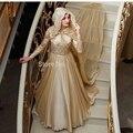 2016 nuevo diseño Champagne gasa manga larga musulmán turco una línea de cuello alto de noche vestidos Hijab velo largo vestidos de noche