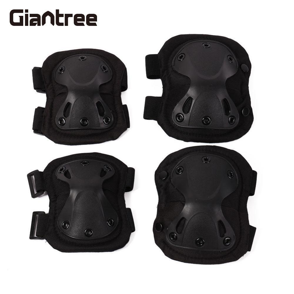 Giantree 4Pcs Tactics Tactical Knee Elbow Pads Protects Protector Protective Pad Cushion scoyco k11h11 motorcycle sports knee elbow protector pad guard kit black