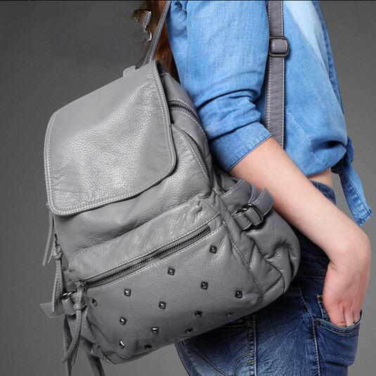 newhotstacy bag 110416 hot new women pu rivet backpack double shoudler school bag