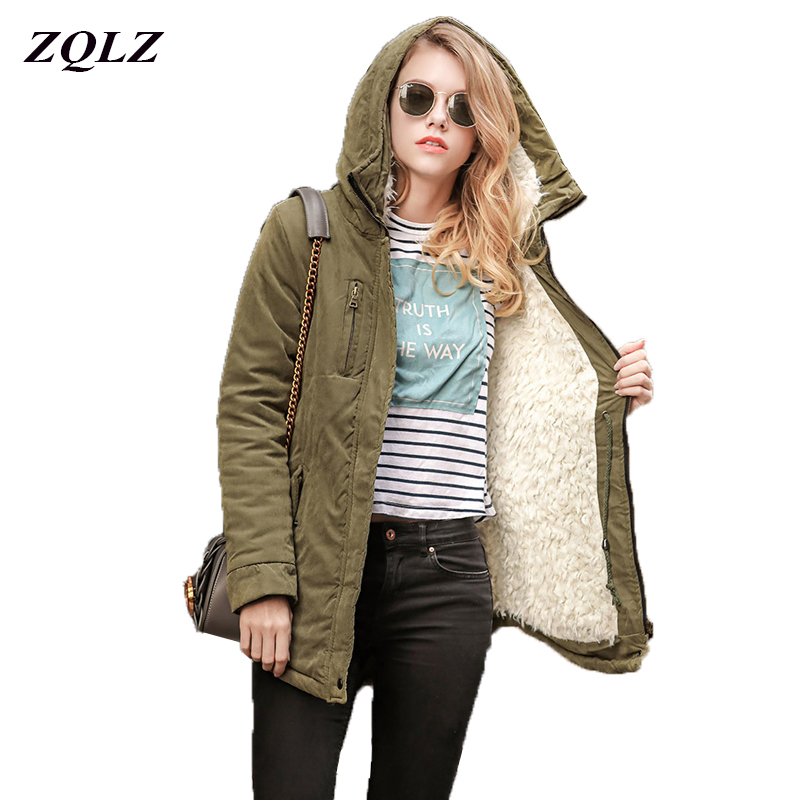 ZQLZ Winter Jacket Women 2018 Hooded Slim Thick Long Cotton Padded Warm Coat Fashion Army Green High Quality Ladies   Parka
