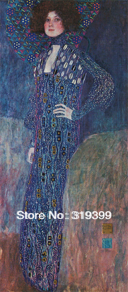 Gustav Klimt  Oil Painting reproduction on Linen Canvas,Portrait of Emilie Floge,Fast Shipping,handmade,Museam QualityGustav Klimt  Oil Painting reproduction on Linen Canvas,Portrait of Emilie Floge,Fast Shipping,handmade,Museam Quality